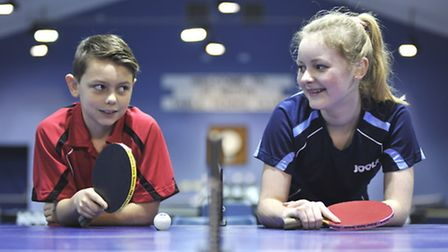 Charlotte and Harry Boston at St Neots Table Tennis Club. Picture: Helen Drake