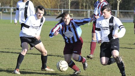 Michael Banbury in action for Eaton Socon against West Wratting. Picture: Helen Drake