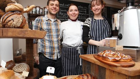 Owners Agron Ballo, Liliana Rivera and Shop Assistant Kate Simmans inside Baked Nation
