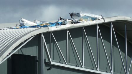 Damage to the roof of the AirSpace exhibit at IWM Duxford