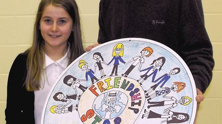 Wheatfields School, St Ives, have a new Friendship Stop, the winning designer was year 6 pupil, Poll
