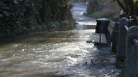 Water pours through the ford at batford