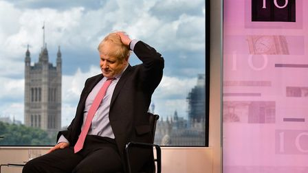 Boris Johnson appears on the BBC. Photograph: Jeff Overs/BBC/PA Wire .