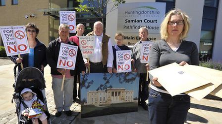 Stop Bicton Wind Farm group handing in their petitions at Huntingdonshire District Council last year