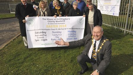 Huntingdon Mayor Bill Hensley promoting his Charity Weekend at Jubilee Park with his supporters.