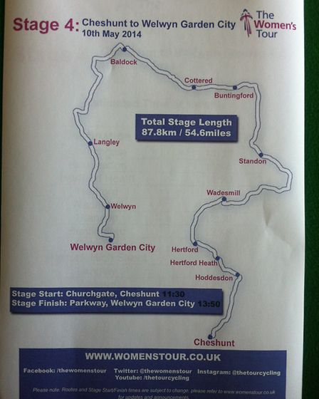 A map showing the route of the Women's Tour 2014 which will pass through Buntingford and Cottered