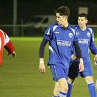 Tom Smith (centre) scored the Blueboys' second goal against Southall. Picture: James Whittamore