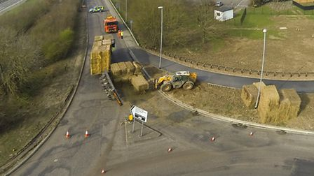 The view from above of a hay bale trailer which overturned near Alconbury Weald. Picture: paramotors