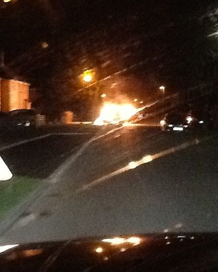 Car on fire in Green Leys, St Ives. Picture: CLAIRE HUDSON