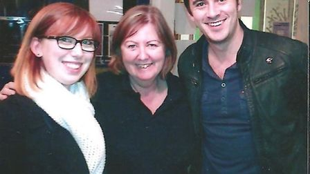 (l to right) French visitor Claire Margat, STAPH press office Anne Dunlop and Enter Shikari's Chris