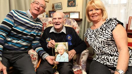 Son-in-law Geoff and Daughter Cerise Smith with Bill Pearson who turned 100 on the 28th of February