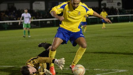 James Comley stays up under a challenge from Ian Brown. Picture: Bob Walkley