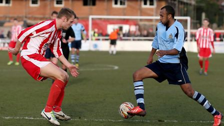 James Comley drives into the box. Picture: Leigh Page