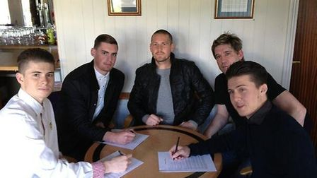 Elliot Bailey, James Kaloczi and Matt Bailey with joint managers James Gray and Graham Golds.