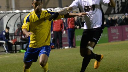 Howard Hall runs at the Corby Town defence. Picture: Bob Walkley