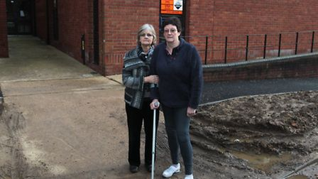 Kay DePeza and Rosie Dolling outside the hydrotherapy pool at St Albans hospital