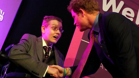 Will Moores met Prince Harry at the WellChild Awards in 2012. Picture courtesy of Antony Thompson