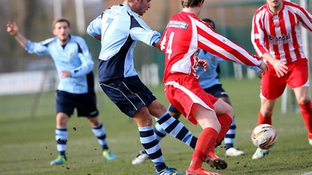 Sam Corcoran pounces to score the only goal of the game. Picture: Leigh Page