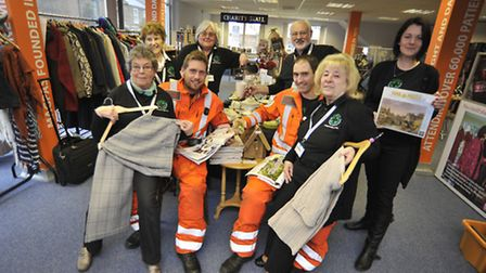 The new Magpas Charity Stall, at the Huntingdon offices, (l-r) volunteers Anna Childs, Margery Muske