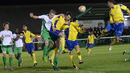 Ram Marwa, right, heads the ball towards the goal. Picture: Bob Walkley