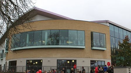 People queuing to enterl at the opening of Westminster Lodge Leisure Centre
