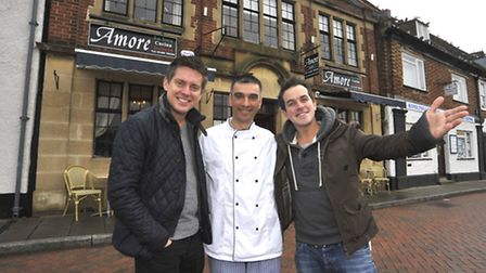 Children's TV stars Dick and Dom with restaurant owner Marin Lleshi.