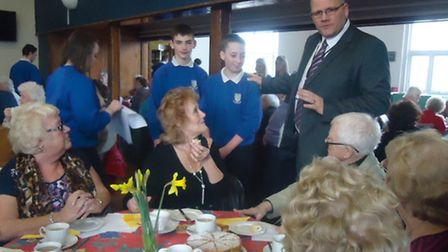 Cllr Jose Hales with Melbourn Village College students at the Celebrating Ages tea