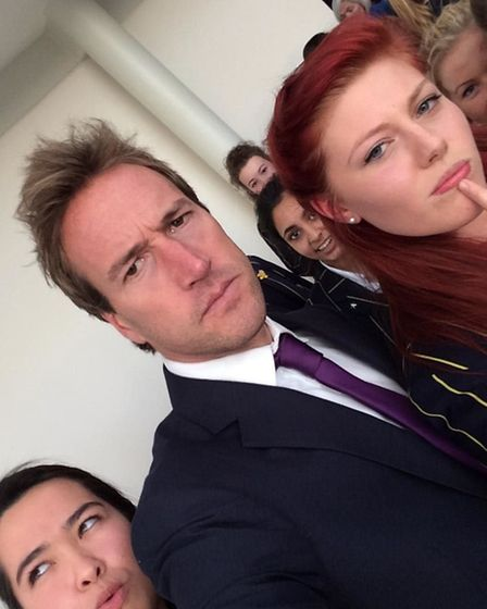 Ben Fogle poses for a selfie with Year 13 students Ali Miles (l) and Danielle Hall (r) - photo by Da