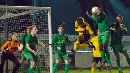 Action from the Scott Gatty Cup final between Hemingfords United and Great Paxtion. Picture: Claire