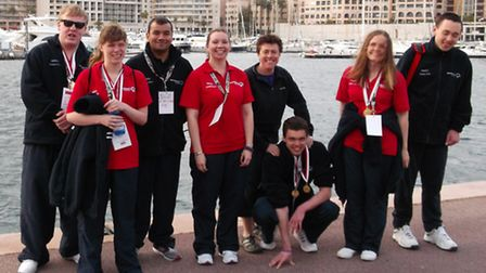 Special Olympics St Albans' swimming team in Monaco.