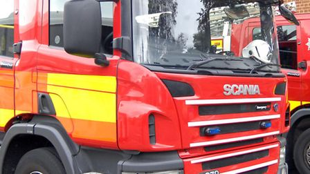 Firefighters put out a fire in Gamlingay Woods yesterday evening.