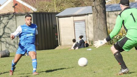 Jermaine Davey fires home Vision's second goal.