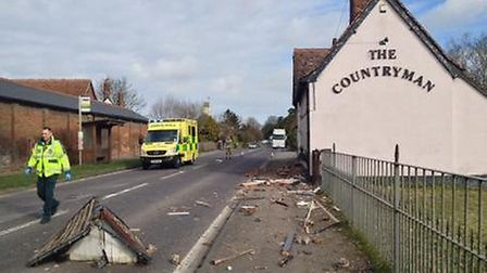 The scene of the crash at The Countryman in Chipping (Pic: @AmboOfficer on Twitter)