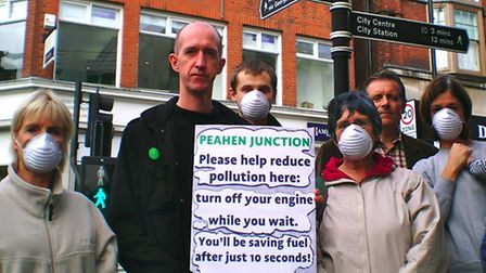 Simon Grover and Green Party members at the Peahen junction
