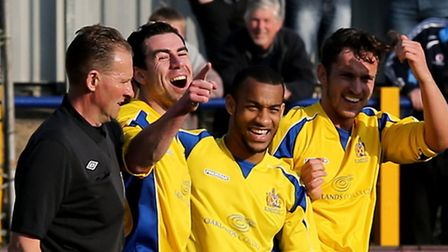 Steve Wales celebrates his first goal of the afternoon. Picture: Leigh Page