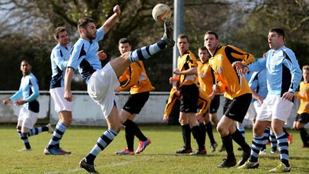 Tom Ward at full stretch is unable to direct the ball goalwards. Picture: Leigh Page
