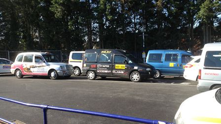 Taxis in the new rank outside Harpenden station