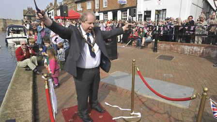 The opening of the Old Riverport , St Ives, Mayor Nick Dibben, cutting the ribbon.