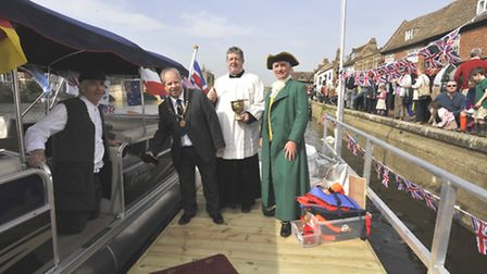 The opening of the Old Riverport , St Ives, (l-r) Chris Morgan, on his boat, Mayor Nick Dibben, Rev