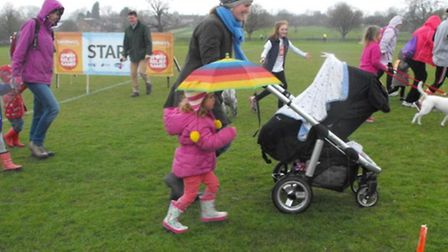 Dog walkers and mums with push chairs were among those taking part in the Chishill Sport Relief mile