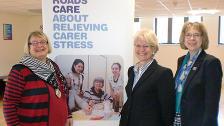 At the opening of a new carers' café in Harpenden were the Mayor of Harpenden Cllr Rosemary Farmer,
