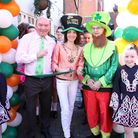 Landlord of The White Swan, John McGuiness with Cllr Annie Brewster and Irish Dancing Girls