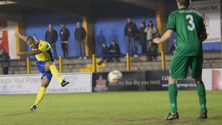 Howard Hall scores with a free-kick for St Albans City against Hitchin Town. Picture: Bob Walkley