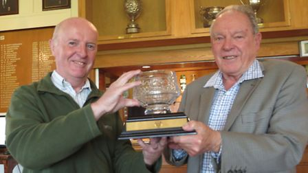 Steve Ogilvie, left, with Bruce Symes who donated the silver jubilee trophy in 2013 to mark 25 years