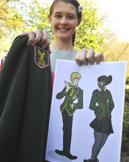 Ex pupil Farren Phillips, from Huntingdon, with her design for the Hinchingbrooke School uniform.