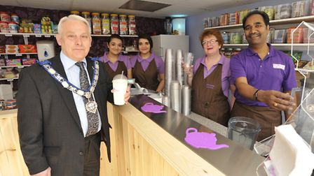 Opening of Milkshake Junction, Ramsey, by Mayor Ian Curtis, with (right to left) owner Vinay Thawait