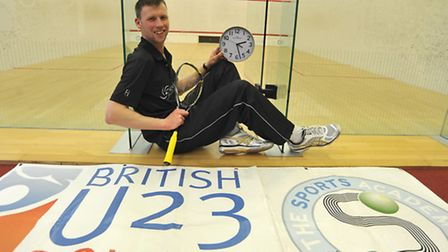 Colin Griggs did a squash marathon to raise funds for the competition. Picture: Helen Drake