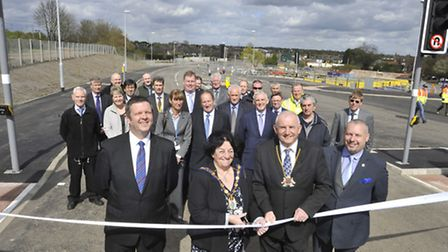 The opening of Edison Bell Way, Huntingdon. (l-r) Leader of CCC Martin Curtis, Chairman of HDC Barba