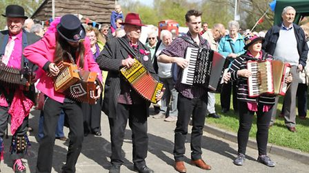 Bunnies from Hell Morris perform at Thriplow daffodils festival 2014