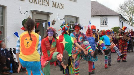 There Gog magag Milly Dancers performing in the village. Credit: Clive Porter